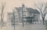 Hi Mike and classmates,    I found this photo of the old Hadfield School.  Remember the coal bunker?  Remember the steep