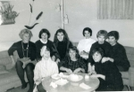 Beatnik Party hosted by Pat Herman:  top row l/r- Jackie Gollwitzer, Bonnie Montgomery, Sue Ashley, Barb Thomas, Sandy S