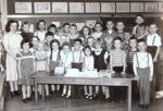 Union School 1st Grade- Miss Peterson:  front row l/r; Sally Hoffman, Jean Harder,Marilyn Janney, Judy Mass, Joe Broehm,